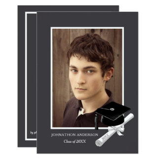 モダンな灰色の写真の卒業パーティーの発表 カード