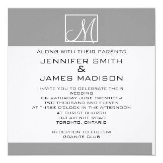モダンな灰色白のモノグラムの結婚式招待状 カード