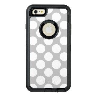 モダンな灰色白の水玉模様パターン オッターボックスディフェンダーiPhoneケース