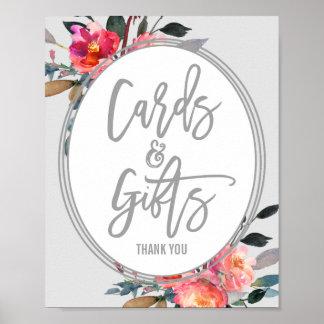 モダンな灰色|の花のリースのカードおよびギフトの印 ポスター