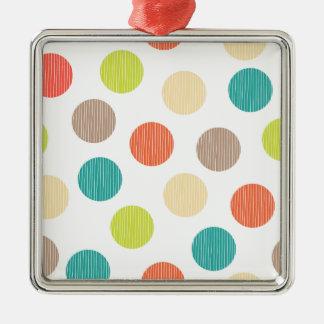 モダンな点の手描きの落書きのティール(緑がかった色)のオレンジの円 メタルオーナメント