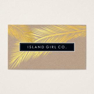 モダンな熱帯やし葉状体のロゴの粋な金ゴールドクラフト 名刺