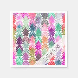 モダンな熱帯パイナップルパステルの水彩画 スタンダードカクテルナプキン