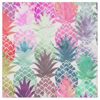 モダンな熱帯パイナップルパステルの水彩画 ファブリック