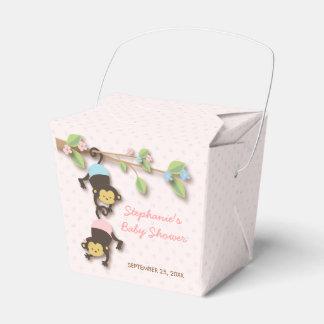 モダンな猿の双生児の女の子及び男の子の好意箱 フェイバーボックス