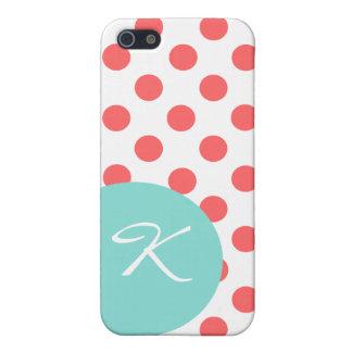 モダンな珊瑚の水玉模様のモノグラムのiPhone 5cケース iPhone 5 Case