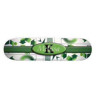 モダンな環境にやさしいことをしよう及びリサイクルのコラージュのモノグラム スケートボード