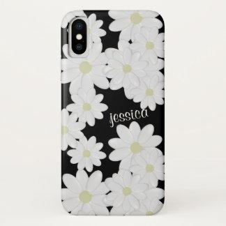 モダンな白いデイジーの黒 iPhone X ケース
