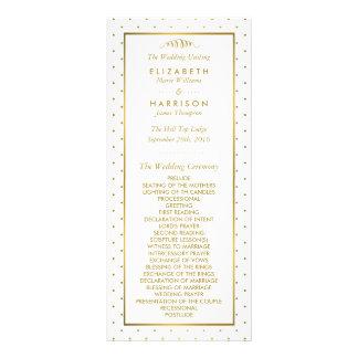 モダンな白及び金ゴールドホイルの効果の結婚式プログラム ラックカード