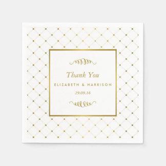 モダンな白及び金ゴールドホイルの効果の結婚 スタンダードカクテルナプキン