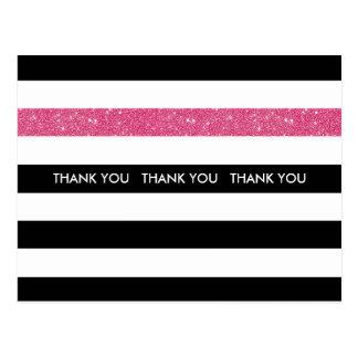 モダンな白黒のストライプのピンクのグリッターありがとう ポストカード