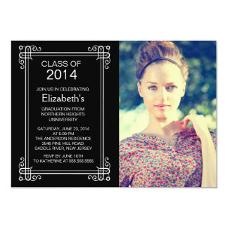 モダンな白黒の写真の卒業パーティーの招待 カード