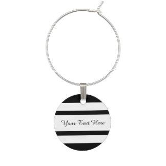 モダンな白黒はパターンを縞で飾ります ワインチャーム