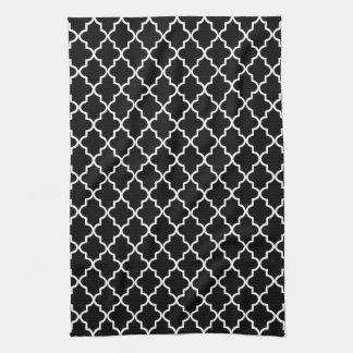 モダンな白黒モロッコのクローバー お手拭タオル