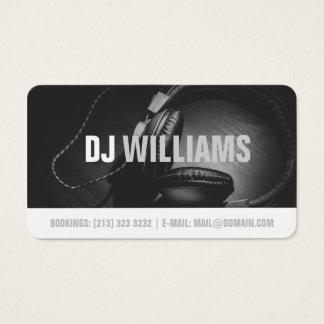 モダンな白黒DJのDJのミュージシャン 名刺