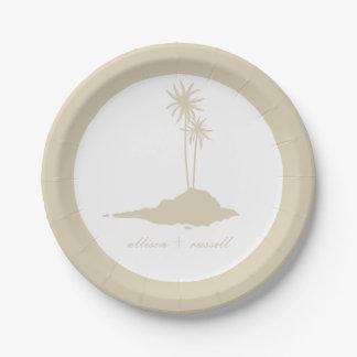 モダンな砂の島のビーチ結婚式 ペーパープレート