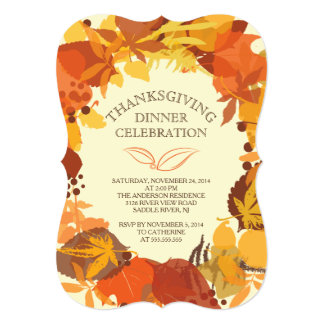 モダンな秋の葉の感謝祭の夕食の招待状 カード