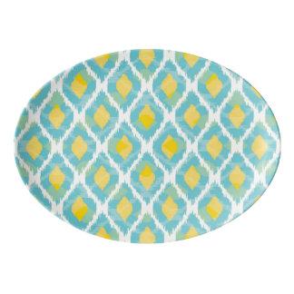 モダンな種族のikatの青く黄色いファッション 磁器大皿