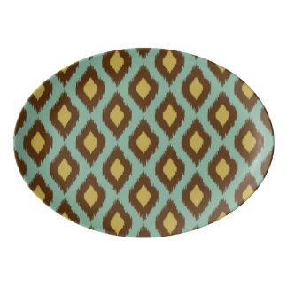 モダンな種族のikatの青く黄色いモダン 磁器大皿