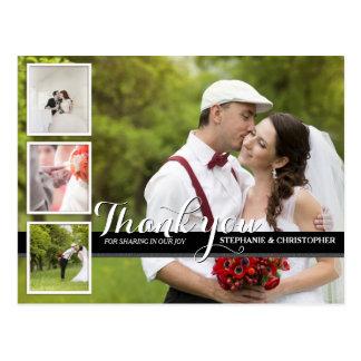 モダンな筆記体の結婚式の写真は郵便はがき感謝していしています はがき