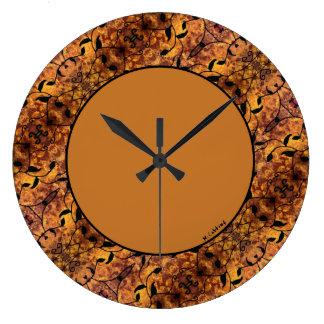 モダンな紅葉のシルエットパターン ラージ壁時計
