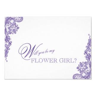 モダンな紫外レースの結婚式のフラワー・ガール カード