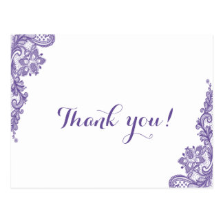 モダンな紫外レースの結婚式は感謝していしています ポストカード
