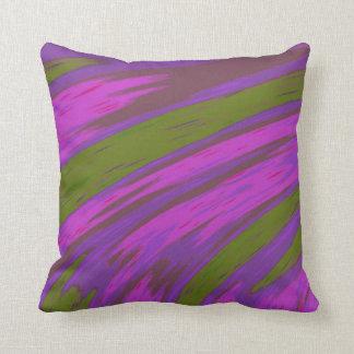 モダンな紫色および緑色の抽象デザイン クッション