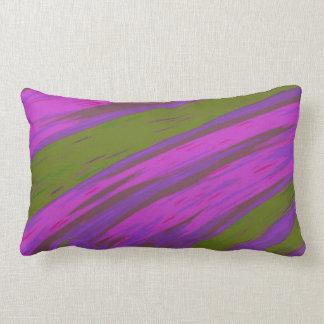 モダンな紫色および緑色の棒の抽象芸術 ランバークッション