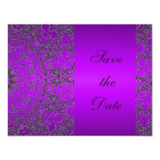モダンな紫色のウェディングシャワーの保存日付の花嫁 カード