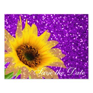 モダンな紫色のヒマワリの花の結婚式のグリッター カード