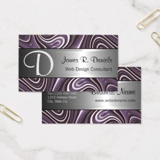 モダンな紫色の白3Dの液体渦巻パターン 名刺
