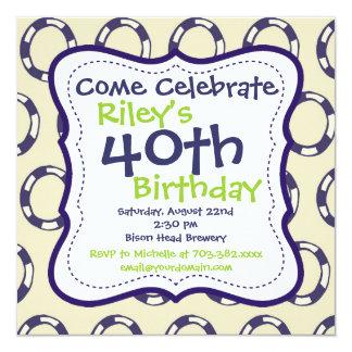 モダンな紫色の緑の第40誕生日のパーティの招待状 カード
