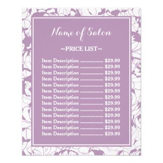 モダンな紫色の花のガーリーな美容院の値段表 11.4CM X 14.2CM チラシ