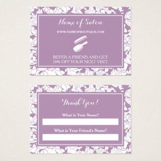 モダンな紫色の花のサロンの友人の紹介のクーポン チャビ―名刺