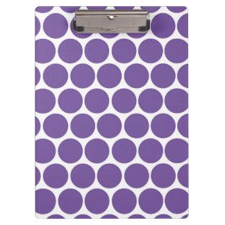 モダンな紫色、白い水玉模様 クリップボード