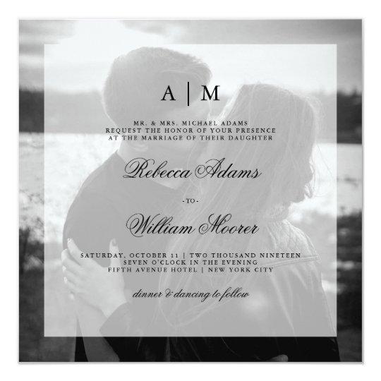 モダンな結婚式の写真の正方形の招待状上にあられる| 13.3 スクエアインビテーションカード