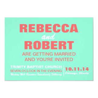 モダンな結婚式招待状の珊瑚及びミント 12.7 X 17.8 インビテーションカード
