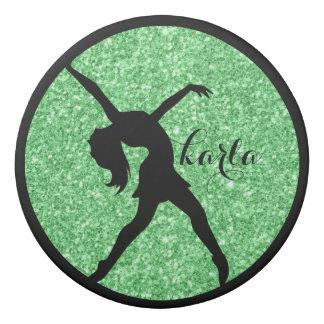 モダンな緑のグリッター及び黒いダンサーのシルエット 消しゴム