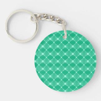 モダンな緑のダイヤモンドおよび正方形パターン キーホルダー