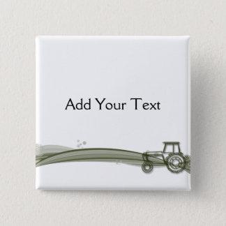 モダンな緑のトラクターのイラストレーションボタン 5.1CM 正方形バッジ