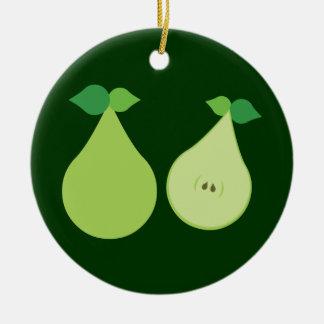 モダンな緑のナシ セラミックオーナメント
