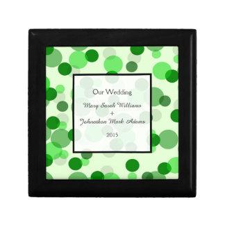 モダンな緑の点パターン結婚式の記念品 ギフトボックス
