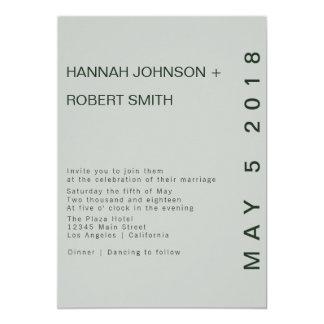 モダンな緑の色相の結婚式招待状 カード