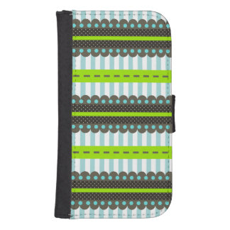 モダンな緑、青、ストライプなブラウン及びドット・パターン ウォレットケース