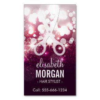モダンな美容師-ピンクのグリッターの輝き マグネット名刺 (25枚パック)