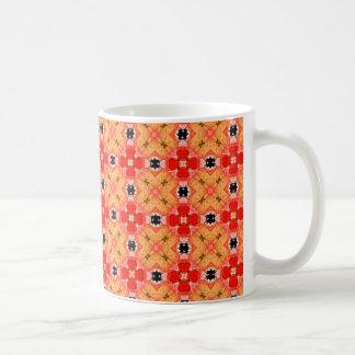 モダンな花のキルトの蜜柑の格子 コーヒーマグカップ