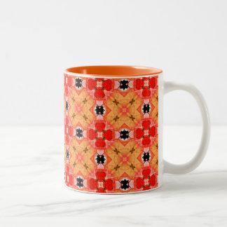 モダンな花のキルトの蜜柑の格子 ツートーンマグカップ