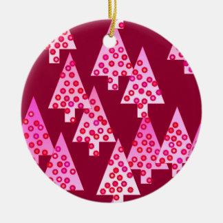 モダンな花のクリスマスツリー-ワイン及びピンク セラミックオーナメント