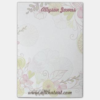 モダンな花のスケッチは名前入りなメモ帳を落書きします ポストイット